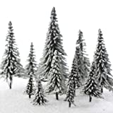 Factory Direct Craft Set of 15 Miniature Flocked Frosted Pine Trees in Assorted Sizes for Crafting and Displaying