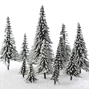 Factory Direct Craft Miniature Flocked Artificial Trees in Assorted Sizes 38