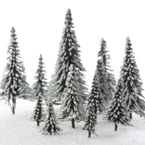 Factory Direct Craft Set of 15 Miniature Flocked Frosted Pine Trees in Assorted Sizes for Crafting and Displaying (Village Pine Tree)