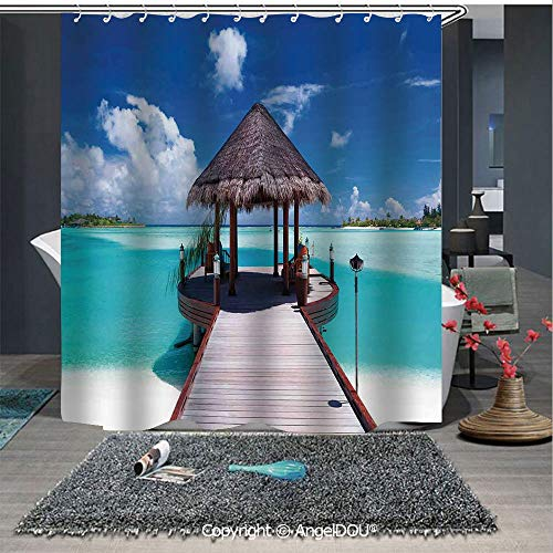 - AngelDOU Ocean Lightweight Durable Fabric Shower Curtain Jetty and The Ocean View on Tropical Caribbean Island Beach Resort Image for Bathroom with Free Hooks