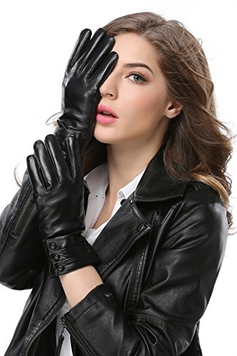 Anccion Women Winter Leather Gloves for full finger fleec...