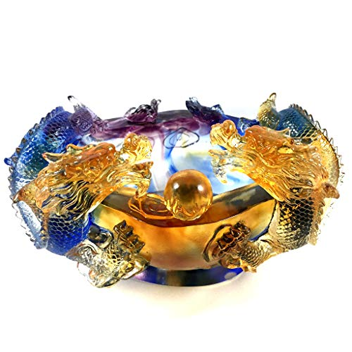 Amore Jewell Twin-Dragon Treasure Bowl, Colored Glaze Glass (Liuli Crystal Glass)