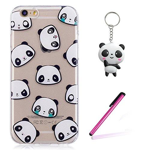 iPhone 8 Hülle,Netter Panda Premium Handy Tasche Schutz Transparent Schale Für Apple iPhone 8 + Zwei Geschenk