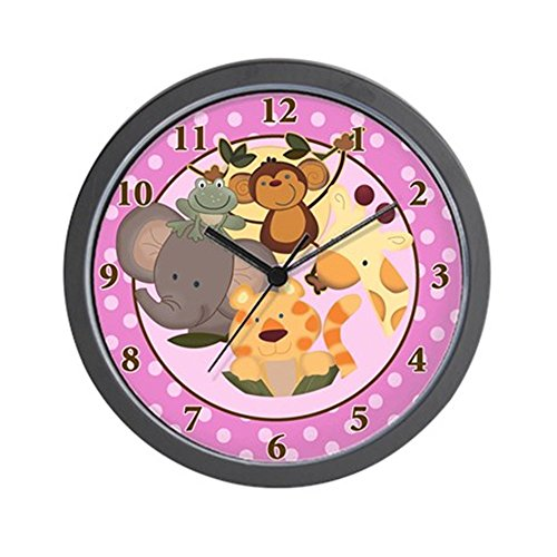 CafePress - Pink Girl Jungle Safari Wall Clock - Unique Decorative 10