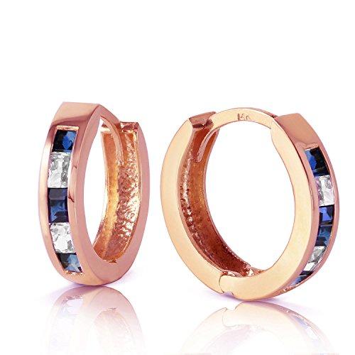 1.26 Carat 14K Solid Rose Gold Hoop Earrings Natural Sapphire Rose Topaz ()