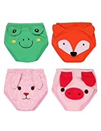 Toddler Training Underwear Pants 4 Layers Cotton Potty Training Waterproof TPU Pack of 4 Size 80 Rabbit Pig Frog Fox