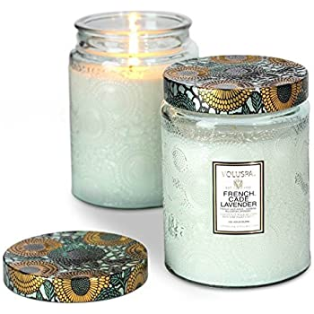 Voluspa French Cade & Lavender Large Glass Jar Candle 100 Hour 16 oz