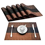 Placemats, GoFriend 6 PCS PVC Woven Placemats For Dining Table Washable Heat-resistant Vinyl Table Mats, 12'' by 18'' - Coffee
