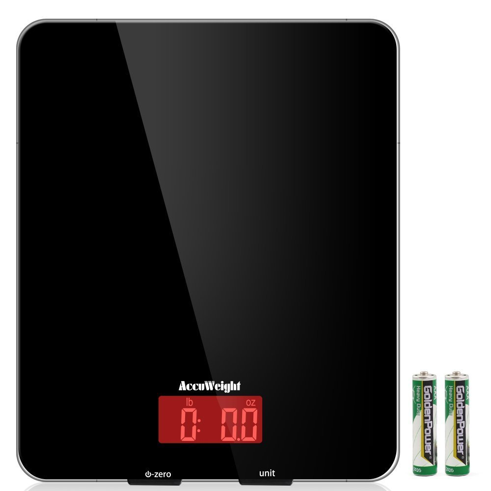 AccuWeight Digital Kitchen scale Multifunction Meat Food Scale with LCD Display for Baking Kitchen Cooking, 11lb Capacity by 0.1oz, Tempered Glass surface, Black by AccuWeight