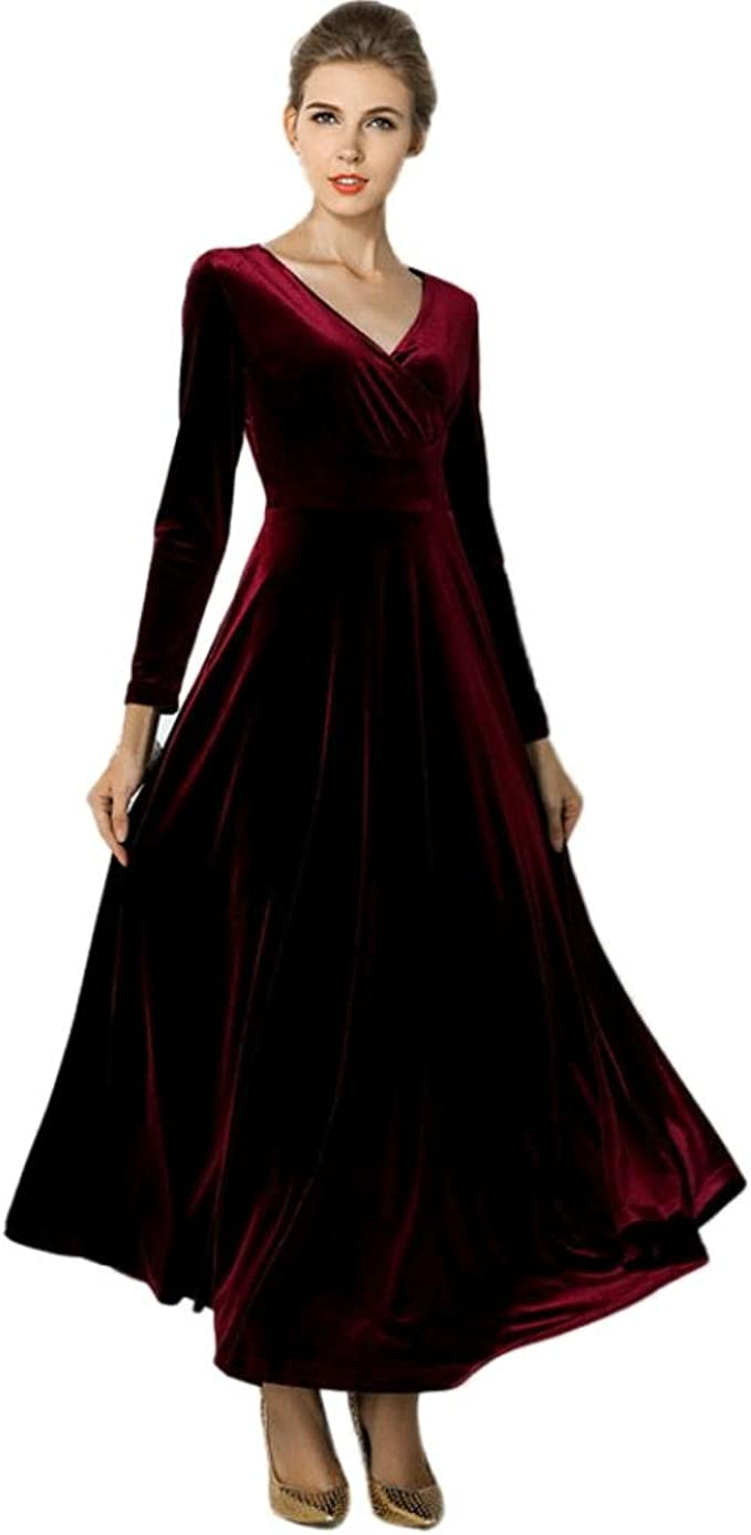 Longra Damen Kleid Langarm Samt Velvet Vintage Elegant Maxikleid