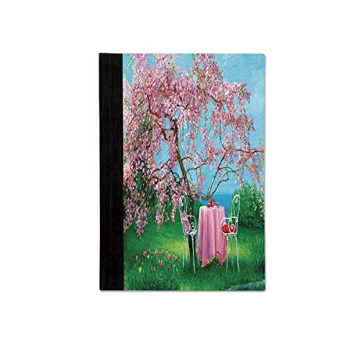 Rustic Stylish Notebooks,Tea Time Theme Vintage Chairs Plum Tree Spring Garden Painting for School Office,One size