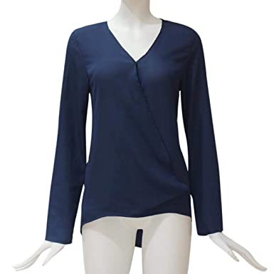 JiaMeng Blusa Holgada Irregular Camiseta de Gasa de Moda sšLIDA Camiseta de Manga Larga con Cuello en Pico de Office: Amazon.es: Ropa y accesorios