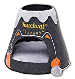 TOUCHCAT 'Molten Lava' Triangular Frashion Designer Pet Kitty Cat Bed House Lounge Lounger w/ Hanging Teaser Toy, Large, Black and Grey Review
