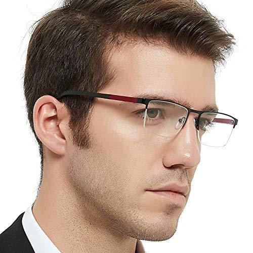 OCCI CHIARI Metal Optical Eyewear Non-prescription Eyeglasses Frame with Clear Lenses For Mens (Black+Wine)