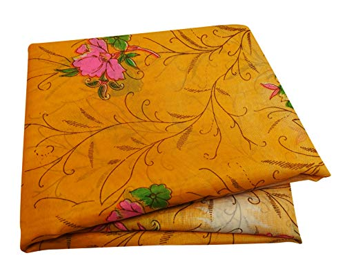 Peegli Indian Vintage Saree Yellow Casual Wear Women Antique Dress Floral Wrap Silk Blend Sari DIY Art Fabric