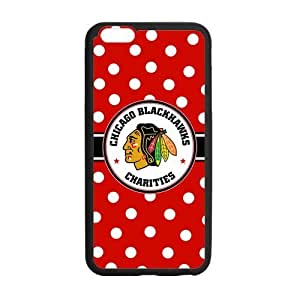 Chicago Blackhawks Polka Dots design on a Black Iphone 6 plus 5.5 Shell Case Cover (Laser Technology)