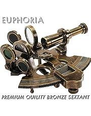 EUPHORIA NAUTISKT BRONS SEXTANT Solid mässing som skickas ASTROLABE NAVIGationsinstruktion