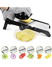 Mandolin Slicer,AKOVE Mandoline Vegetable Slicer with Slice Julienne Waffle Blades from 1~9mm Thickness, All-in-One Kitchen Gadgets Vegetable Mandolin Cutter for Potato Onion Apple Carrot Veggie