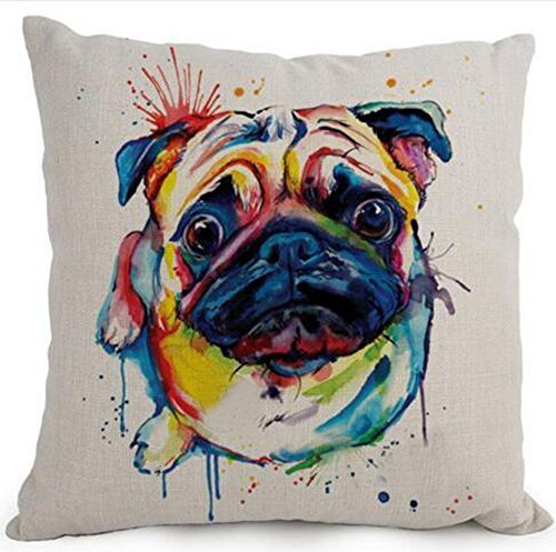 Cotton Linen Cartoon Lovely Animal Abstract Oil Painting Adorable Pet Dogs Pug Throw Pillow Covers Cushion Cover Decorative Sofa Bedroom Living Room Square 18 Inches]()