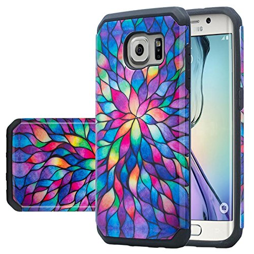 GALAXY WIRELESS for Galaxy S7 Edge Case, Samsung Galaxy S7 Edge Phone Case [Shock Absorption/Impact Resistant] Hybrid Dual Layer Armor Defender Protective Case Cover for Galaxy S7 Edge, Rainbow Flower