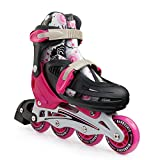 New Bounce Premium Roller Skate by, 4 Wheel Inline Speed Skate for Kids| Outdoor Skating for Beginners & Advanced | 4 Sizes |Pink Or Blue (Pink, Medium)
