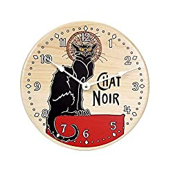 Vintage French black cat chat noir design wall clock. 10 inch solid maple wall clock. Direct print on wood.