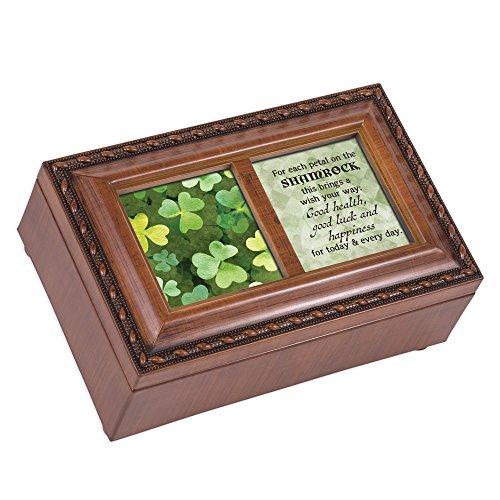 Box Music Point Petit - Cottage Garden Shamrock Luck Happiness Woodgrain Rope Trim Petite Music Box Plays Irish Lullaby
