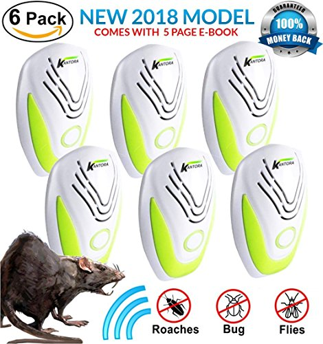 PEST CONTROL ULTRASONIC REPELLENT 6-PACK (2018 BEST MODEL) Repeller Plug In for Insects, Mice, Rats, Spiders, Fleas, Roaches, Bed Bugs, Mosquitoes, Eco-Friendly, Baby, Pet Safe & Non Toxic! WITH EBOOK by Kantora