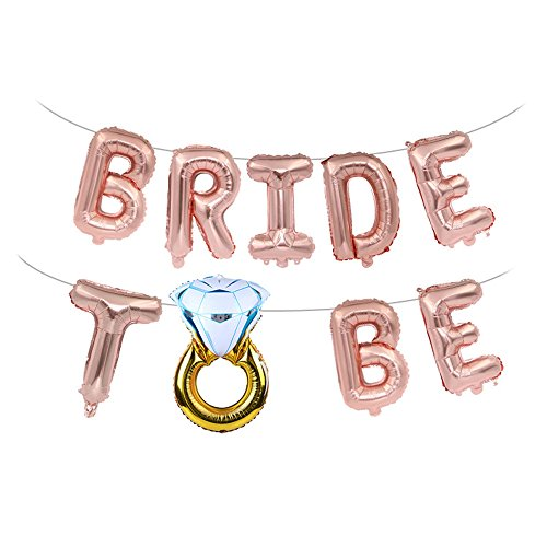 (CHQHQ Bride to BE Balloon Jumbo Foil Balloon Handwriting Letter Giant Celebration Balloon Romantic Wedding Bridal Shower Anniversary Engagement Party Decoration 20 Inches(Rose Gold))