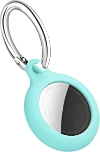 Case for AirTag Holder Sleeve Anti-Scratch Protective AirTag Cover Skin with Keychain for New Apple AirTags 2021 Mint