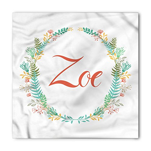 Zoe Bandana by Ambesonne, Blossoming Nature Design Foliage Leaves Silhouette Baby Girl Name Arrangement Wreath, Printed Unisex Bandana Head and Neck Tie Scarf Headband, 22 X 22 Inches, (Zoe Leaf Print)