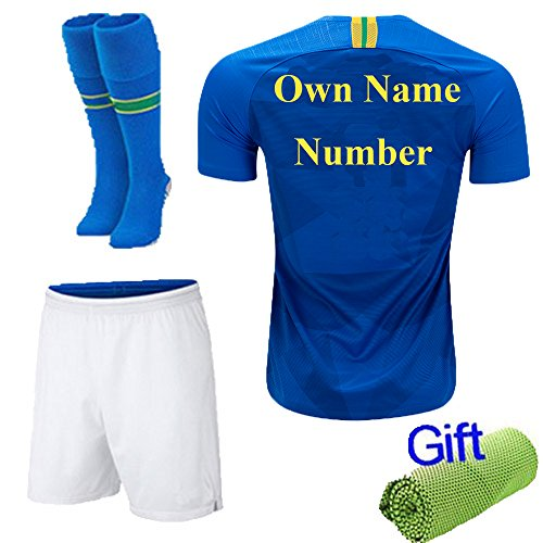 New Fi  2018 Soccer Football Blue Away Kit Short Sleeve Jersey for 3-12 Years Old Kids Boys Youth Suit with Socks and Free Ice Face Cloth (9-10 Years, Own Name and Number) ()