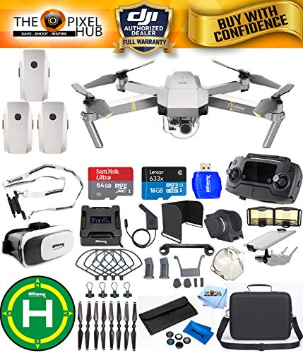 DJI Mavic Pro Platinum Edition Pro Accessory Bundle With Carry Case, 7 Piece Filter Kit, Vest Strap, Landing Pad Plus Much More (3 Batteries Total)