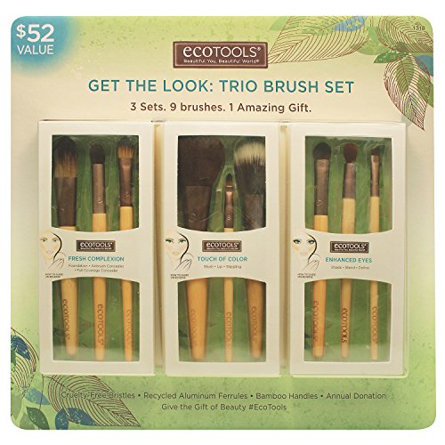 Ecotools Cruelty Free and Eco Friendly Get the Look Trio Brush Set; Three Sets, nine Brushes, one Amazing Gift; With Fresh Complexion Set, Touch of Color Set and Enhanced Eye Set