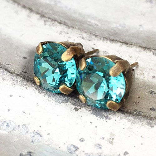 turquoise-rhinestone-stud-earrings-for-women-aqua-blue-solitaire-2-carat-round-swarovski-elements-au