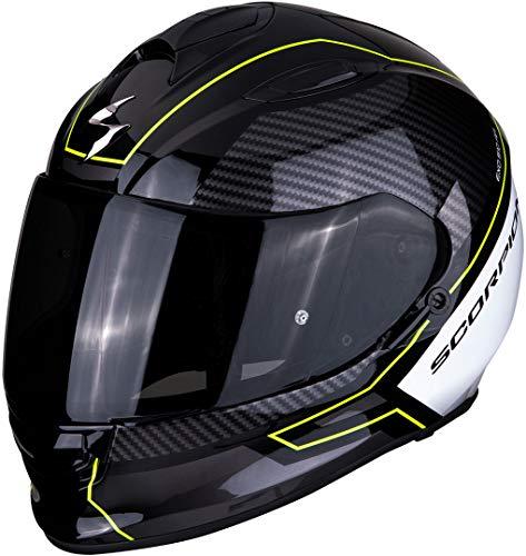 Scorpion Unisex– Erwachsene NC Motorrad Helm, Schwarz/Weiss/Fluo, L