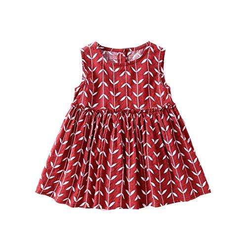 Toddler Girls Summer Leaf High Waist Casual Fashion Cold Shoulder Dresses (13, (Doc Mcstuffins Halloween Special)
