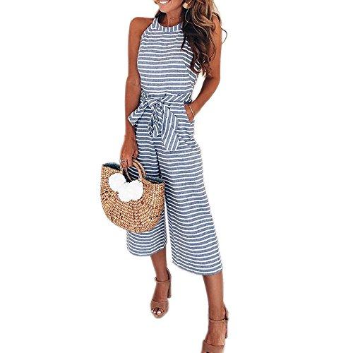 PRETTYGARDEN 2018 Womens Striped Sleeveless Waist Belted Zipper Back Wide Leg Loose Jumpsuit Romper with Pockets