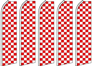 5 Swooper Flutter Flags CHECKERED Red White