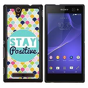 EJOOY---Cubierta de la caja de protección para la piel dura ** Sony Xperia C3 ** --Manténgase Modelo de la escala positiva colorido