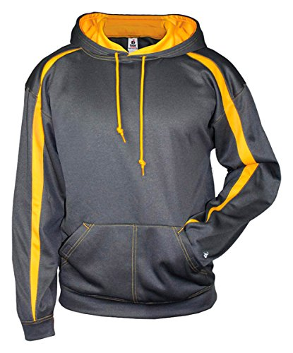 Badger Fleece Sweatshirt - 1467 Badger Adult Fusion Hooded Fleece - Carbon/ Gold - XX-Large