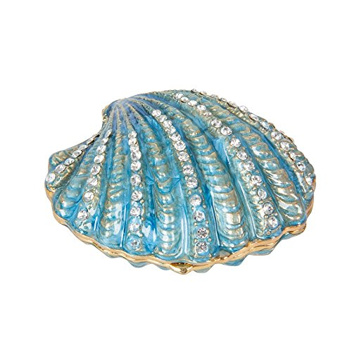QIFU-Hand Painted Enameled Shell Style Decorative Hinged Jewelry Trinket Box Unique Gift For Home Decor (Box Trinket Shell)