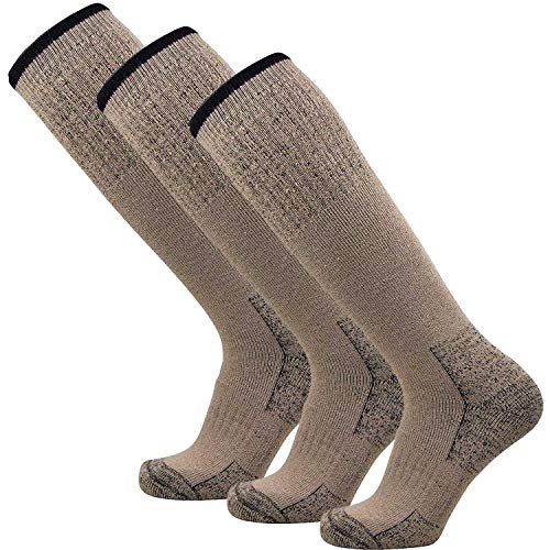 Heavy Work Boot Socks - Durable Comfortable - Great for Hiking, Camping, Hunting (L/XL, Khaki - 3 Pack)