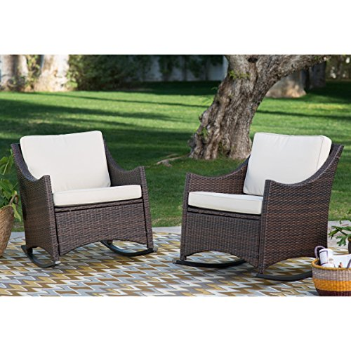Harrison Club Style Powder-coated Aluminum Frames Rocking Chairs - Set of 2. Durable Resin Wicker in Dark Brown Patio Rocking Chair. 33.4W x 26.7D x 32.20H in. (Each Chair) ()