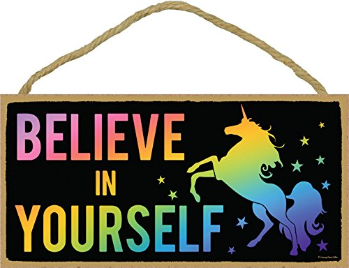 Believe in Yourself - Rainbow Unicorn - Hanging, Wall Art, Decorative Wood  Home Decor