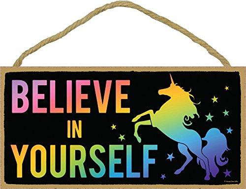 Believe in Yourself - Rainbow Unicorn - Hanging, Wall Art, Decorative Wood Home Decor