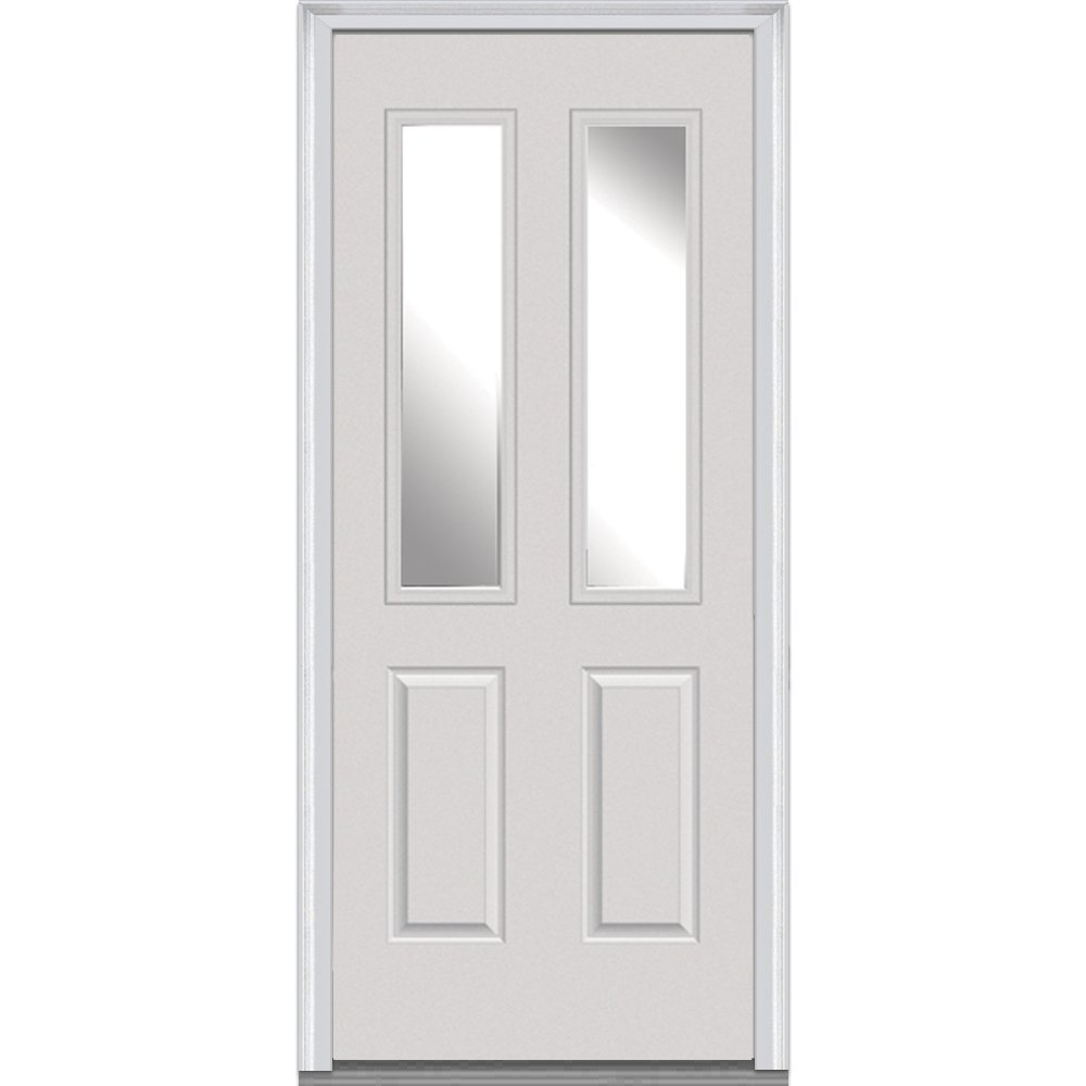 National Door Company Z000790R Steel Primed, Right Hand In-swing, Prehung Front Door, 2-1/2 Lite 2-Panel, Clear Glass, 36'' x 80''