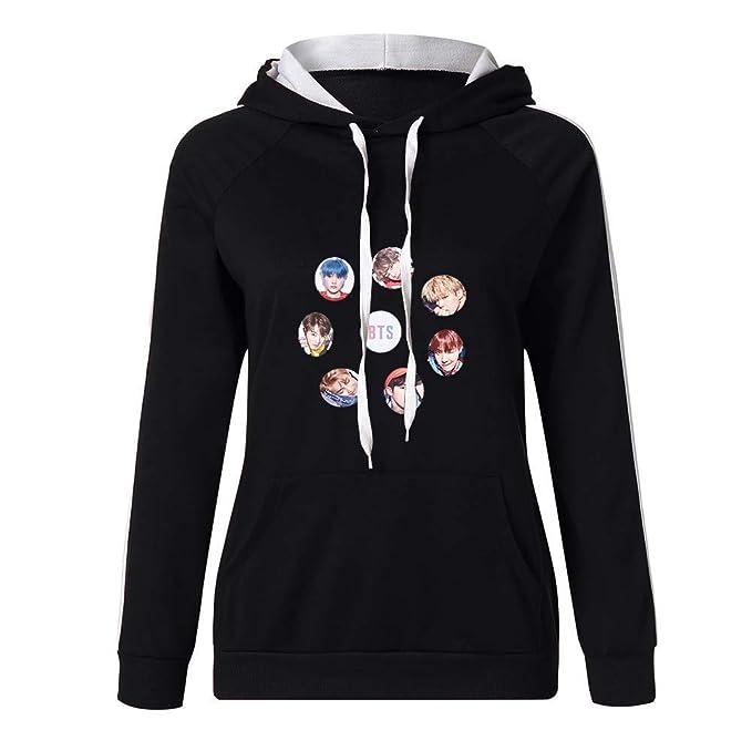 BTS Sudaderas con Capucha Casuales Suéter Manga Larga Cómodo Jerseys Deportivo Camisetas Tops Delgada Sweatshirts Tendencia: Amazon.es: Ropa y accesorios