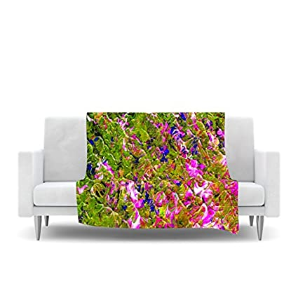 60 by 50-Inch 60 X 50 Kess InHouse Jeff Ferst Colorful Garden Orange Green Fleece Throw Blanket