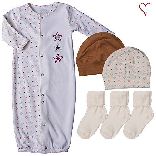 Gown Set Convertible (country kids Fishfeathers by Baby Boys Super Star Converter Gown Hats Socks, 6 Piece Gift Set, Infant (Fits Newborn up To 6 Months))